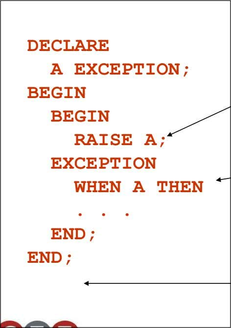 DECLARE A EXCEPTION; BEGIN BEGIN RAISE A; EXCEPTION WHEN A THEN . END; END; . .
