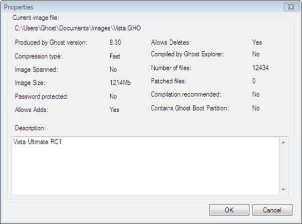 menu, click Properties to view the image file properties. Launching a file Ghost Explorer restores a
