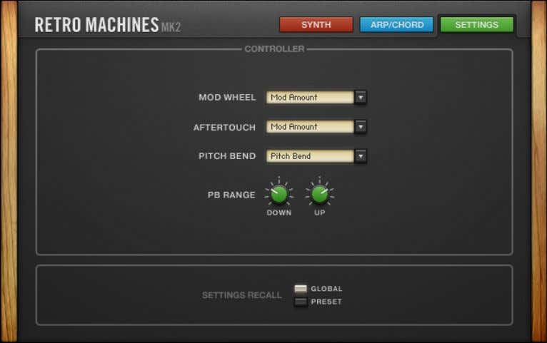 Using the Instrument SETTINGS Page The Settings page. Controls ▪ MOD WHEEL : Sets the functionality