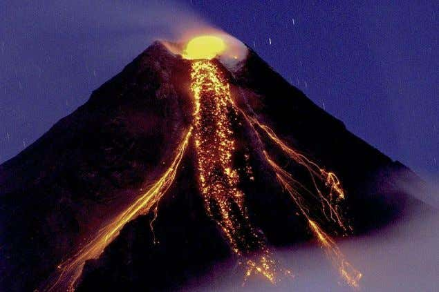pieces of volcanic material), pumice, and volcanic ash. The Mayon Composite Volcano (Philippines) erupting in 2009