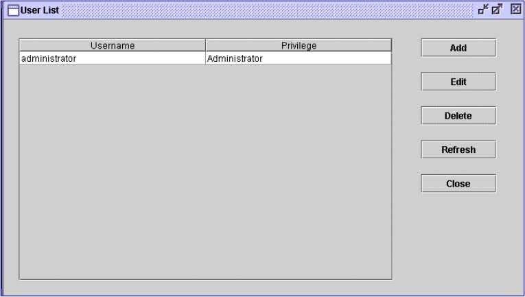 database and its configuration. Figure 4.4-1 - User List Menu Choice Description Add Allows Administrators