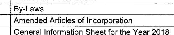 (SEC) Articles of Incorporation By-Laws Amended Articles of Incorporation General Information Sheet for the Year 2018