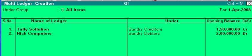 Info > Ledgers > Create (under Multiple Ledgers) Under Group Select the name of the group