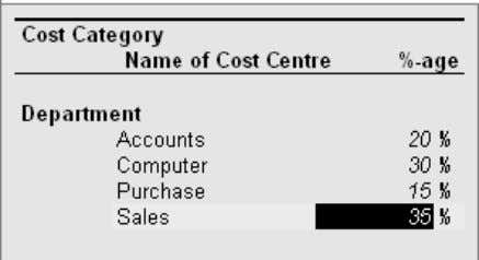 Allocation . Press Enter the following screen appears. 5. Select the name of the cost category