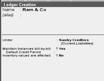 creation: Purchase Ram & Co Purchase A/c Sundry Creditor Voucher Creation: Gateway of Tally Accounting Voucher