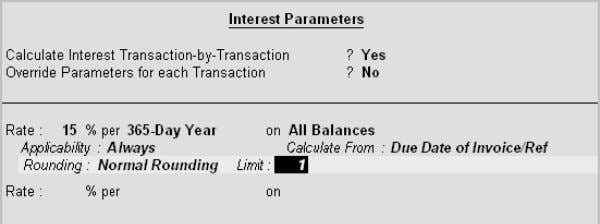 Interest Parameters sub-screen is displayed as shown below: ∑ For Ledgers created under the Group Bank