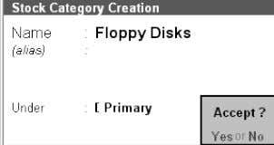 field In the under field Enter Floppy Disks Select Primary Creating Multiple S tock Categories ∑