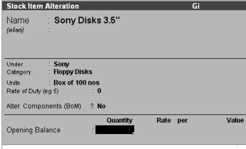 "field Enter Sony Disks 3.5"" Select Sony Box of 100 Nos. Delete a stock item You"