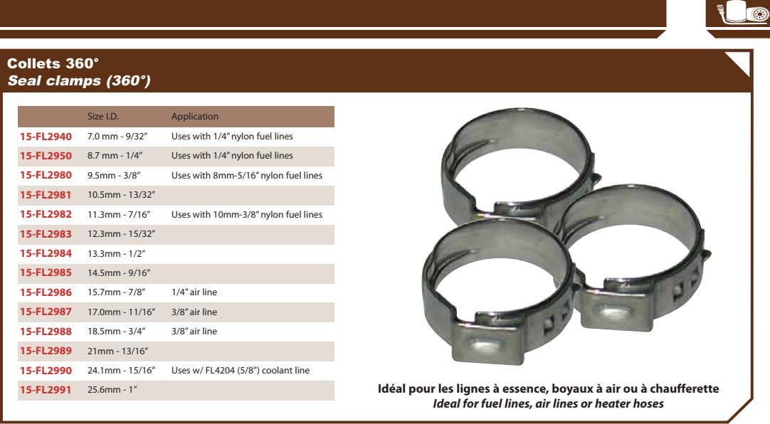 "Collets 360° Seal clamps (360°) Size I.D. Application 15-FL2940 7.0 mm - 9/32"" Uses with"
