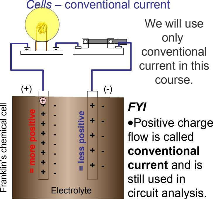 Cells – conventional current We will use only + - conventional current in this course. (+)