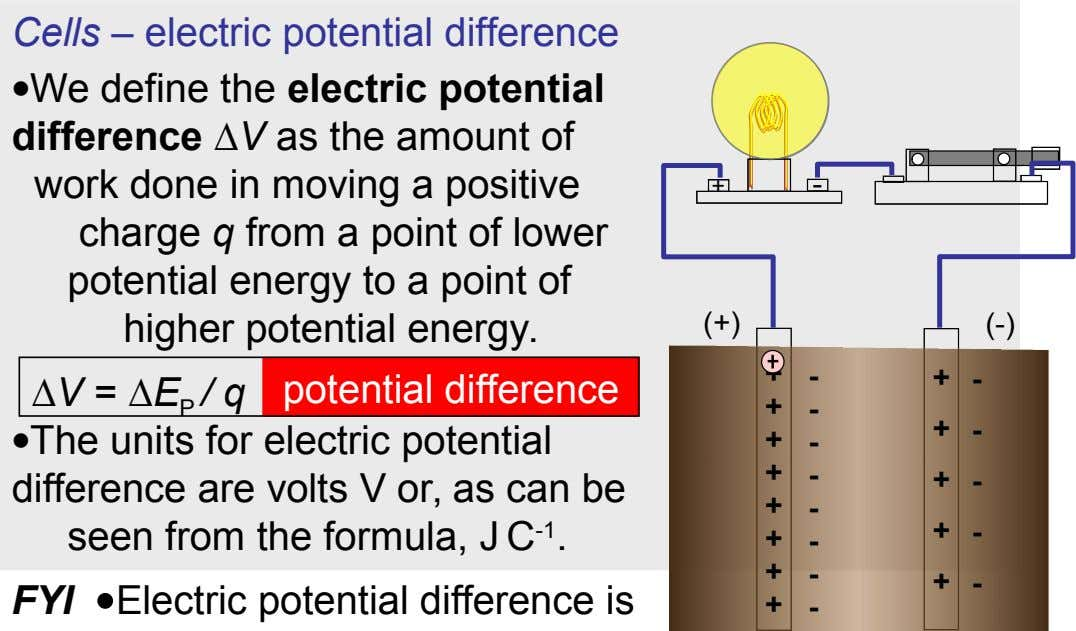 Cells – electric potential difference We define the electric potential difference ∆V as the amount of