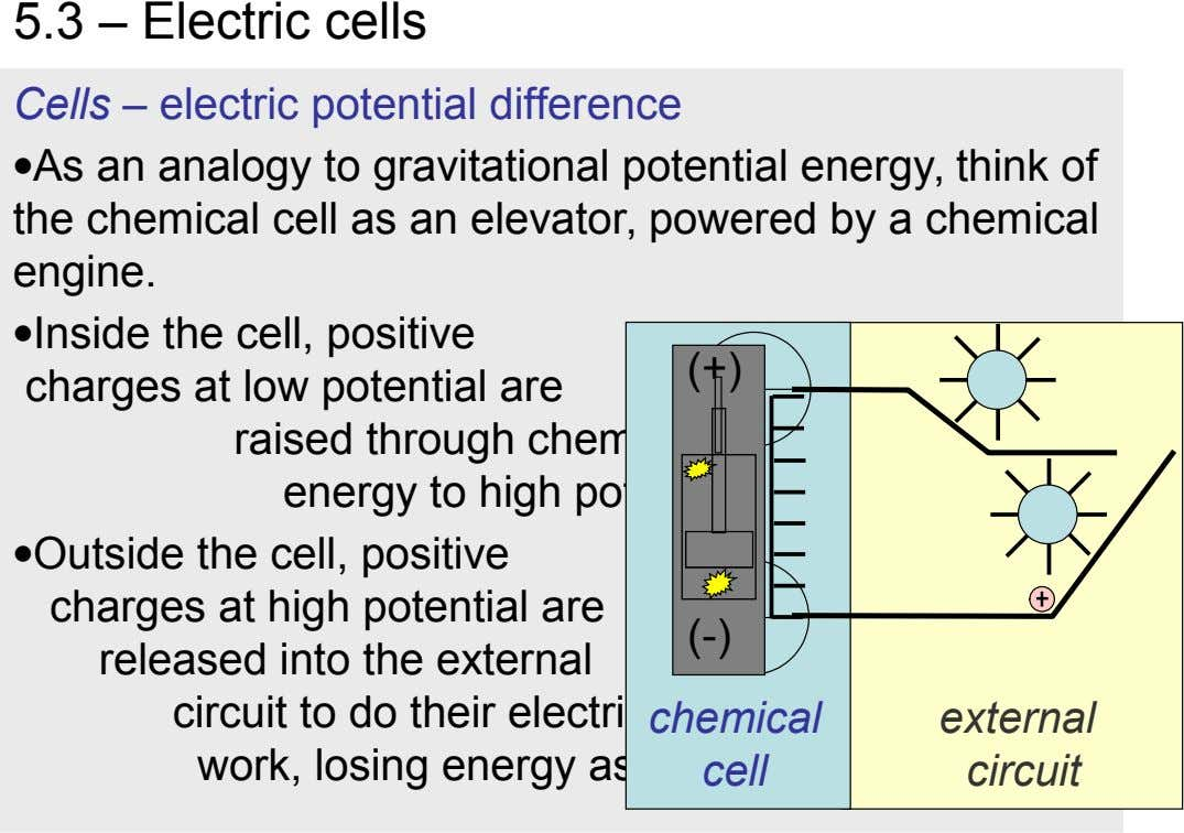 5.3 – Electric cells Cells – electric potential difference As an analogy to gravitational potential energy,