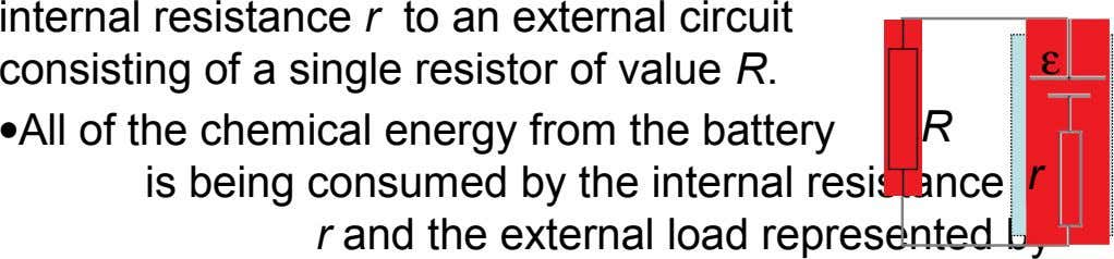 internal resistance r to an external circuit  consisting of a single resistor of value R.