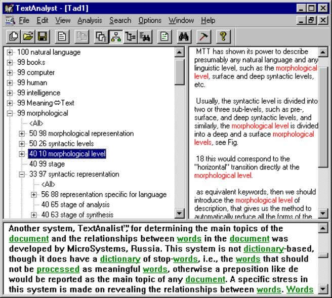 PRODUCTS OF COMPUTATIONAL LINGUISTICS 69 F IGURE III.4. TextAnalyst program reveals the relationships between words.