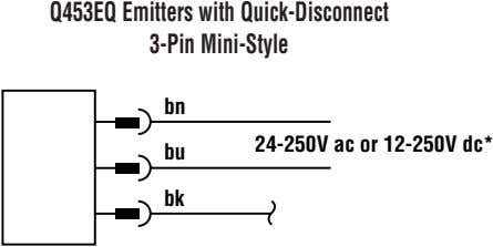 Q453EQ Emitters with Quick-Disconnect 3-Pin Mini-Style bn 24-250V ac or 12-250V dc* bu bk