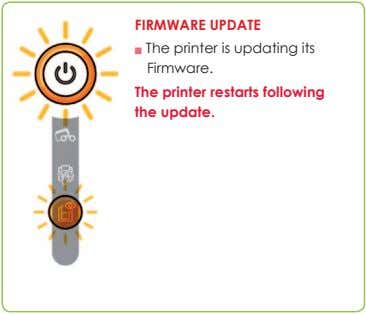 FIRMWARE UPDATE n The printer is updating its Firmware. The printer restarts following the update.