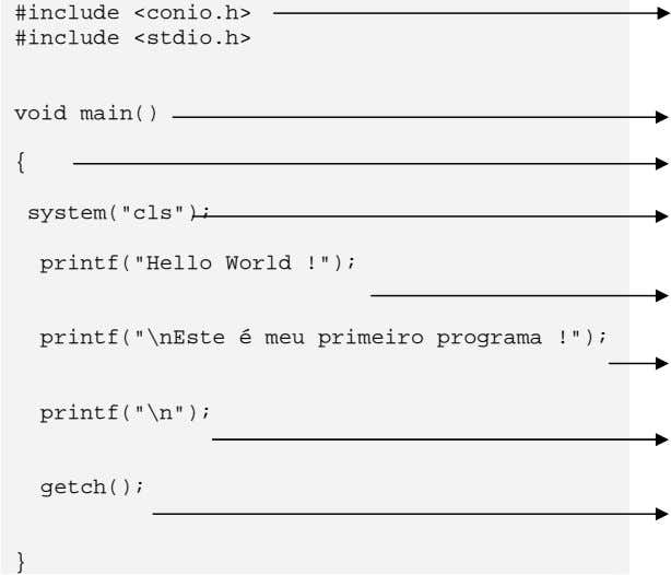 "#include <conio.h> #include <stdio.h> void main() { system(""cls""); printf(""Hello World"
