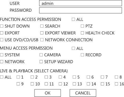 Adding / Changing a User HRDP DVR User Guide SHUT DOWN – Allow the user to