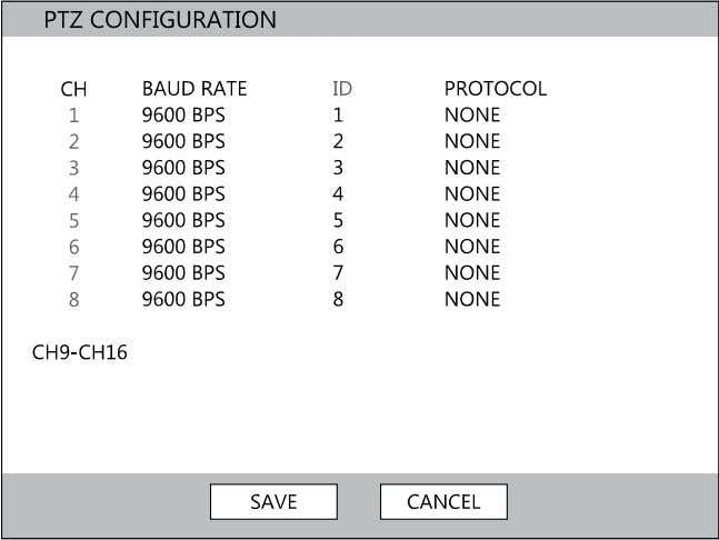 current color settings to all cameras PTZ Configuration CH – Camera Channels BAUD RATE – Sets
