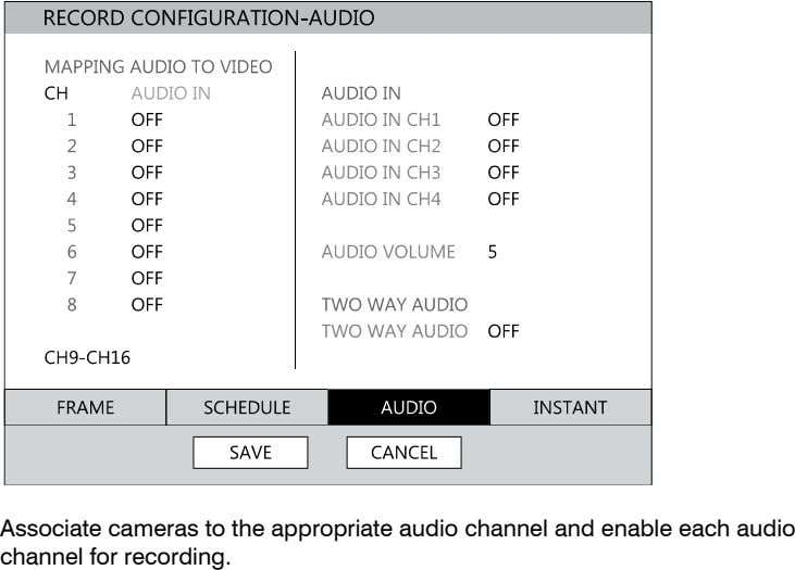 Associate cameras to the appropriate audio channel and enable each audio channel for recording.