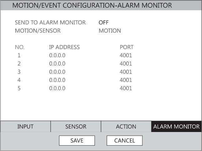 to a remote client using the Alarm Monitor software . 1. Select SEND TO ALARM MONITOR