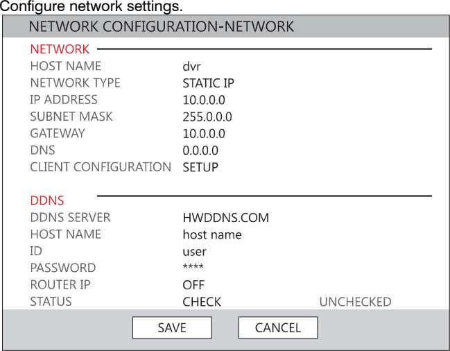 Configure network settings.
