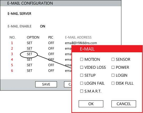 DVR/SMTP [Configure the DVR to use selected e-mail server.] OPTION –Define the type of event that