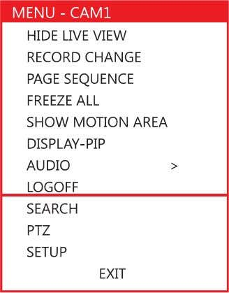 PTZ – Switch to PTZ mode. MENU – Open the Setup Menu. If no camera is