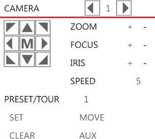 desired camera to open the PTZ Popup menu while in PTZ mode. Arrow Buttons – Move