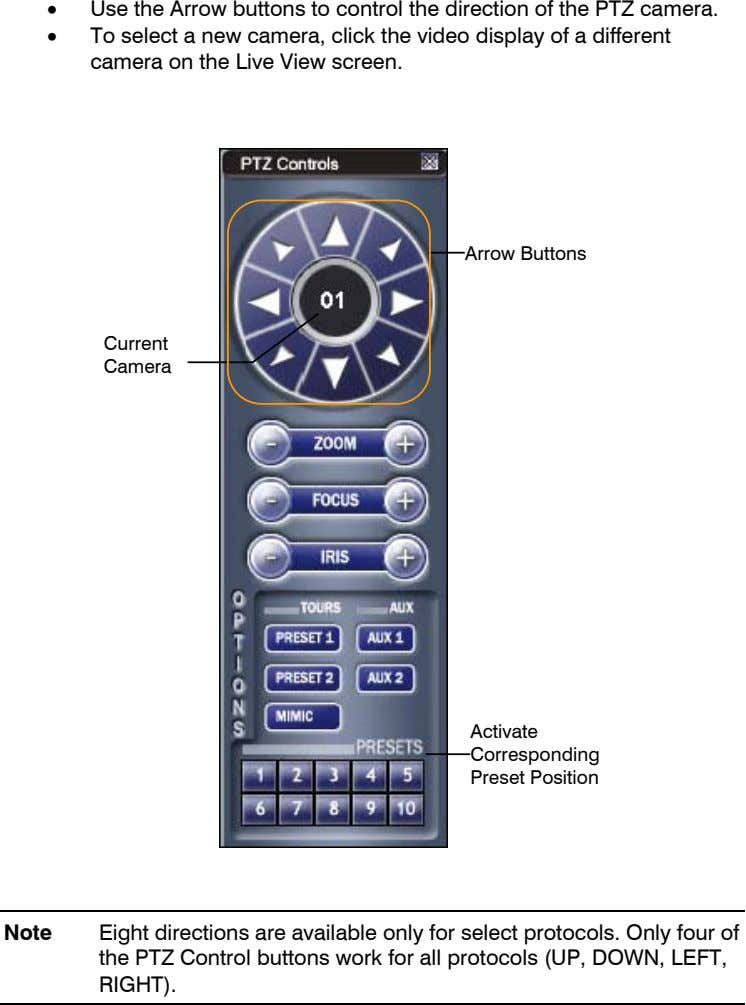 • Use the Arrow buttons to control the direction of the PTZ camera. • To