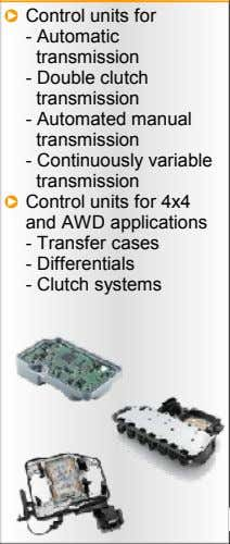 Control units for - Automatic transmission - Double clutch transmission - Automated manual transmission -