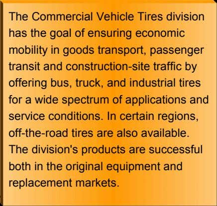 The Commercial Vehicle Tires division has the goal of ensuring economic mobility in goods transport,