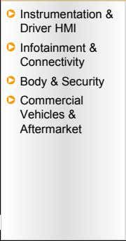 Instrumentation & Driver HMI Infotainment & Connectivity Body & Security Commercial Vehicles