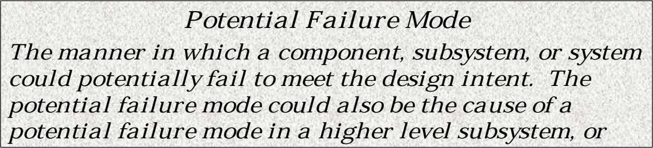 Potential Failure Mode The manner in which a component, subsystem, or system could potentially fail