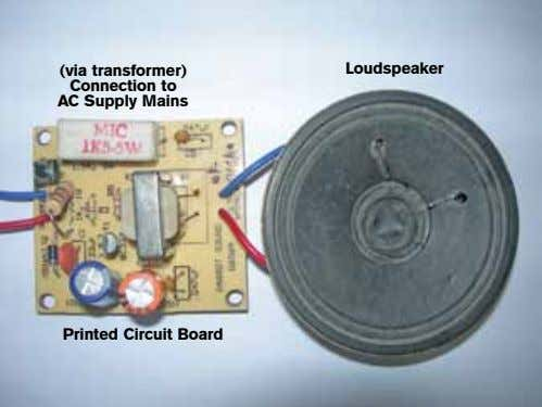 (via transformer) Connection to AC Supply Mains Loudspeaker Printed Circuit Board