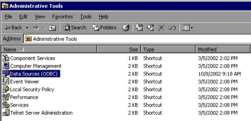 Sources {32bit}. If using Windows 2000 select Administrative Tools and then Data Sources (ODBC). Double click