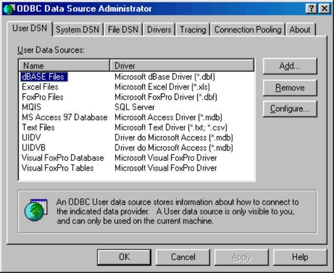II. INSTALLATION In the ODBC Data Source Administrator window, go to the User DSN tab, and