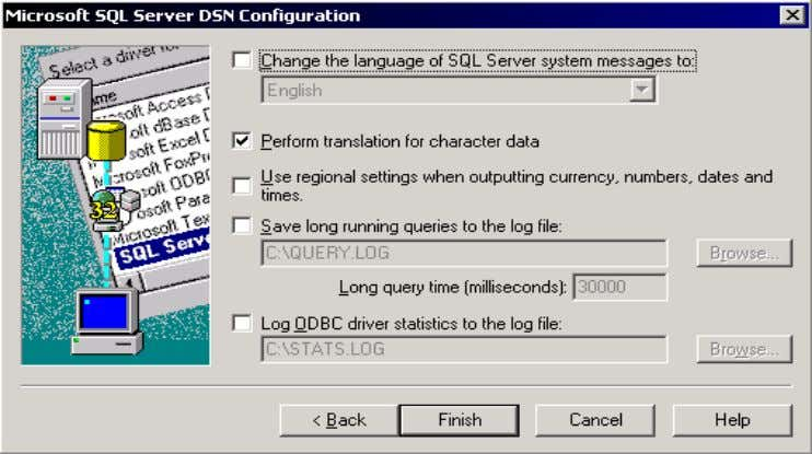 Server DSN Configuration screen that appears, press Next. Press Finish when the next SQL configuration screen