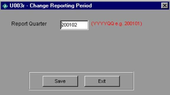 change the report quarter for a given population by selecting a new report quarter and clicking