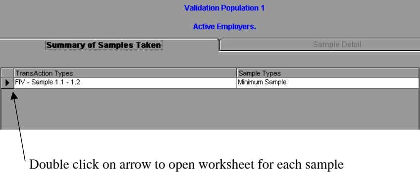 Double click on arrow to open worksheet for each sample