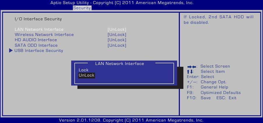 Aptio Setup Utility - Copyright (C) 2011 American Megatrends, Inc. Security I/O Interface Security If