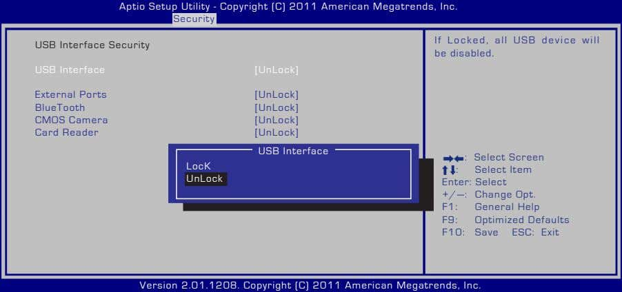 Aptio Setup Utility - Copyright (C) 2011 American Megatrends, Inc. Security USB Interface Security If