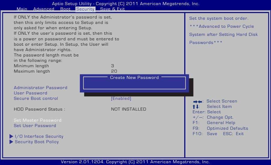 Aptio Setup Utility - Copyright (C) 2011 American Megatrends, Inc. Main Advanced Boot Security Save