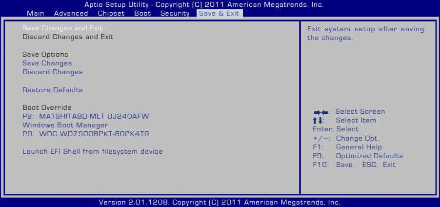 Aptio Setup Utility - Copyright (C) 2011 American Megatrends, Inc. Main Advanced Chipset Boot Security