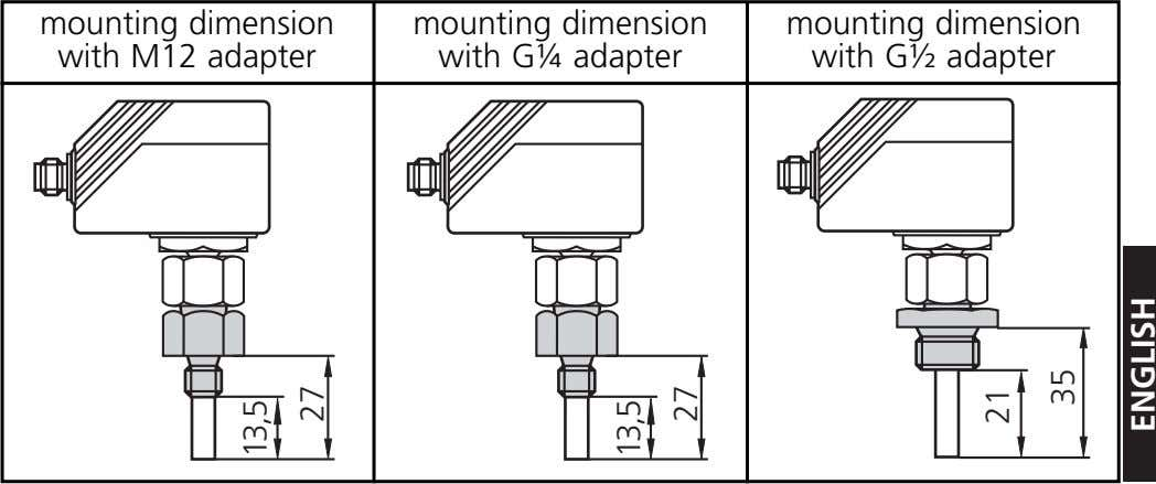 mounting dimension with M12 adapter mounting dimension with G¼ adapter mounting dimension with G½ adapter