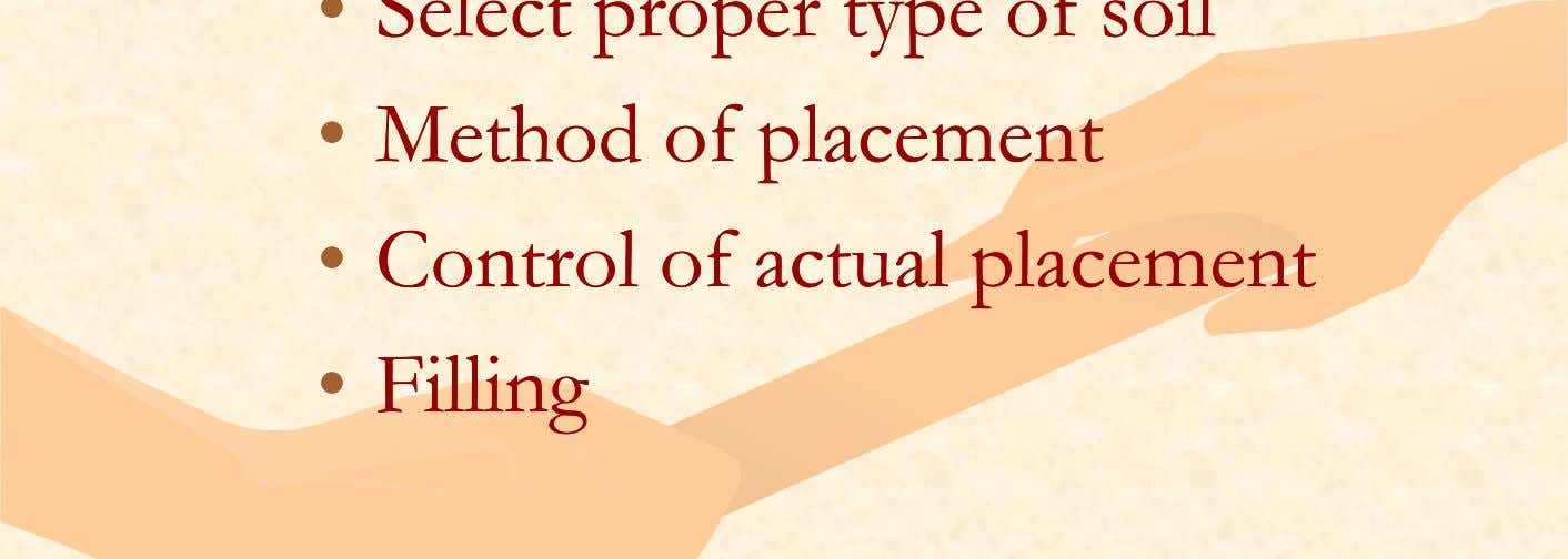 ofof placementplacement •• ControlControl ofof actualactual placementplacement •• FillinFillingg