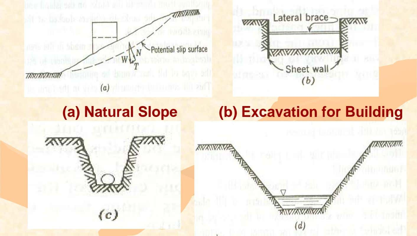 (a) Natural Slope (b) Excavation for Building