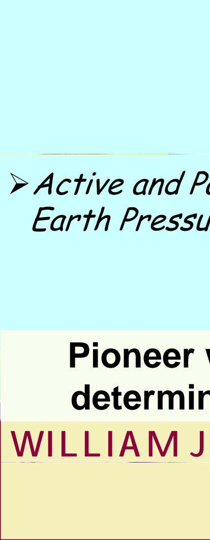 Active and Passive E arth Pressure theorie s Pioneer with a det erm i nation WILLIAM
