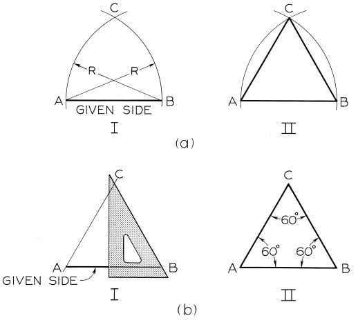© 2003, Prentice-Hall, Inc. Giesecke Technical Drawing, 12e Figure 4-22 Drawing an Equilateral Triangle (§4.20).