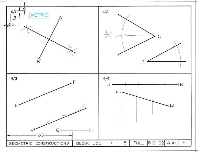 Figure 4-68 (Probs. 4-1–4.4) Geometric Constructions. Layout A–2 or A4–2 (adjusted). © 2003, Prentice-Hall, Inc.